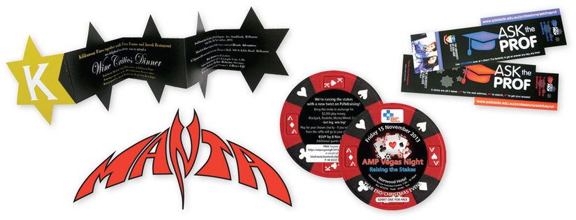 Die-cut stickers and labels add interest to your advertising options